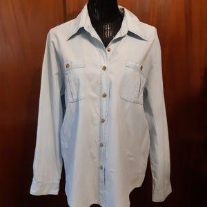Orvis Faded Denim Shirt Size Large